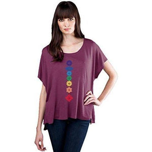 Womens Floral Chakras Slub Fine Jersey Top - Yoga Clothing for You - 1