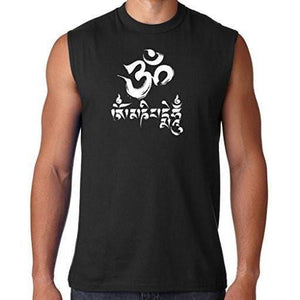 Mens Om Mani Padme Hum Sleeveless Tee - Yoga Clothing for You - 4