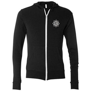Mens White Lotus OM Patch Full-Zip Hoodie - Pocket Print - Yoga Clothing for You - 7