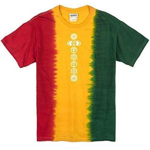 Mens Rasta White Chakras Tee Shirt - Yoga Clothing for You