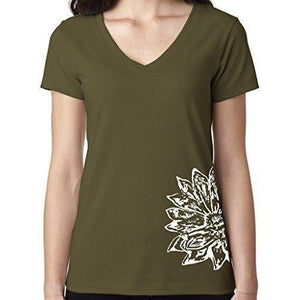 Womens Sketch Lotus Lightweight V-neck Tee - Side Bottom Print - Yoga Clothing for You - 9
