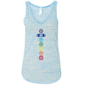 Womens Colored Chakras Flowy V-Neck Tank Top - Yoga Clothing for You - 3