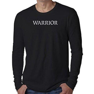 "Mens ""Warrior Text"" Long Sleeve Tee Shirt - Yoga Clothing for You - 1"
