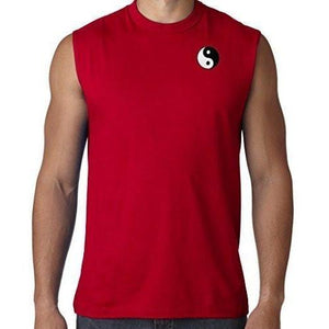Mens Yin Yang Patch Sleeveless Tee - Pocket Print - Yoga Clothing for You - 6