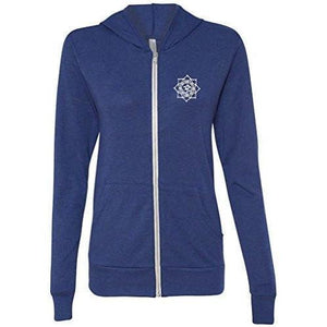 Mens White Lotus OM Patch Full-Zip Hoodie - Pocket Print - Yoga Clothing for You - 6