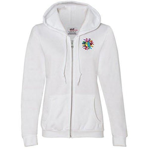 Womens Hippie Sun Full Zip Hoodie - Pocket Print - Yoga Clothing for You - 9
