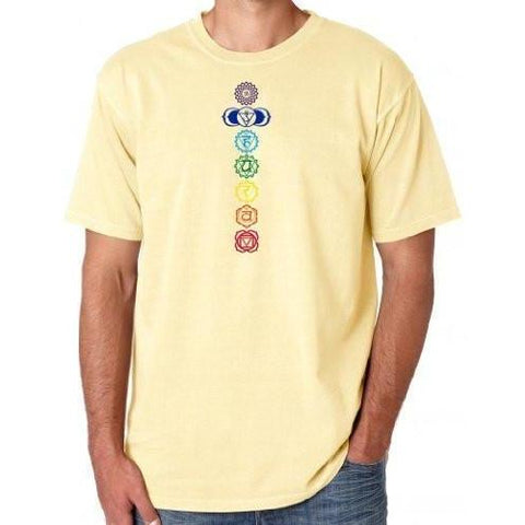 Yoga Clothing for You Mens Colored Chakras Garment-Dyed Cotton Tee Shirt