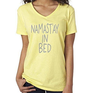 Womens Namaste in Bed Vee Neck Tee - Yoga Clothing for You - 4