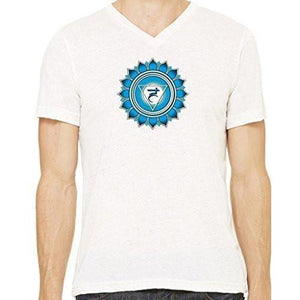 "Mens ""Vishuddha Chakra"" V-neck Tee Shirt - Yoga Clothing for You - 12"