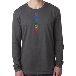 Mens 7 Colored Chakras Long Sleeve Tee Shirt - Yoga Clothing for You - 2