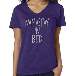 Womens Namaste in Bed Vee Neck Tee - Yoga Clothing for You - 8