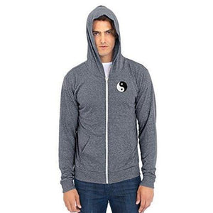 Men's Eco Full Zip Hoodie - Yn Yang Patch - Yoga Clothing for You - 10