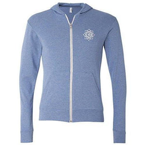 Mens White Lotus OM Patch Full-Zip Hoodie - Pocket Print - Yoga Clothing for You - 1