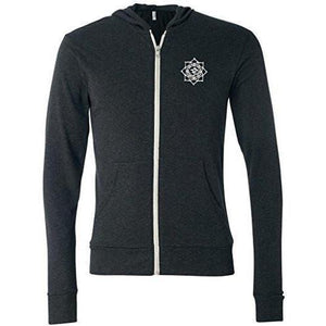 Mens White Lotus OM Patch Full-Zip Hoodie - Pocket Print - Yoga Clothing for You - 2