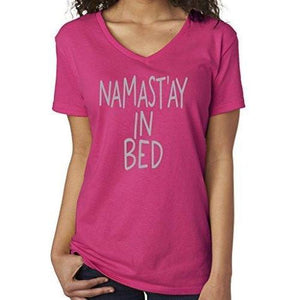 Womens Namaste in Bed Vee Neck Tee - Yoga Clothing for You - 5