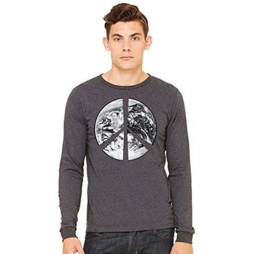 Mens Peace Earth Long Sleeve Tee - Yoga Clothing for You - 1