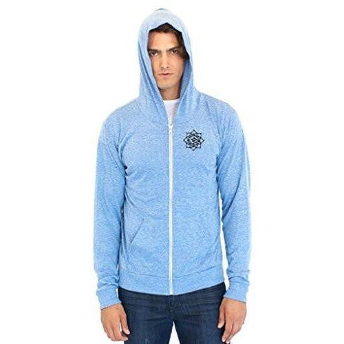 Men's Eco Black Lotus Om Patch Full Zip Hoodie - Yoga Clothing for You - 1