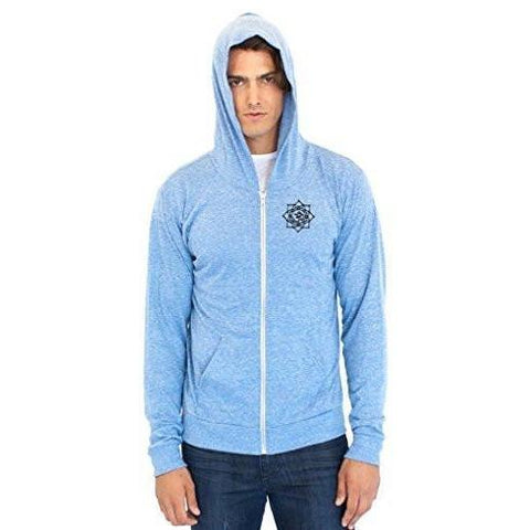 Yoga Clothing for You Men's Eco Black Lotus Om Patch Full Zip Hoodie