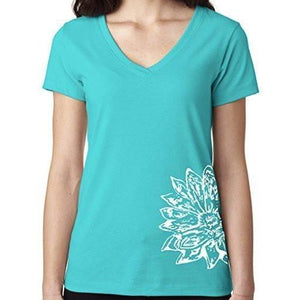 Womens Sketch Lotus Lightweight V-neck Tee - Side Bottom Print - Yoga Clothing for You - 7