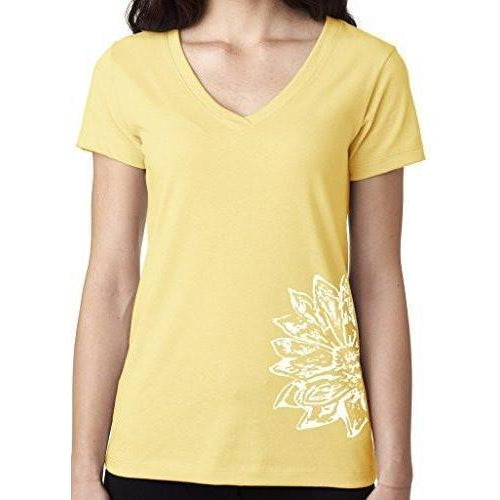 Womens Sketch Lotus Lightweight V-neck Tee - Side Bottom Print - Yoga Clothing for You - 1