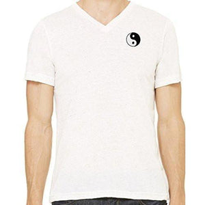 Mens Yin Yang Patch V-neck Tee Shirt - Pocket Print - Yoga Clothing for You - 12