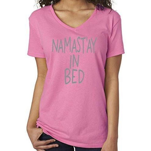 Womens Namaste in Bed Vee Neck Tee - Yoga Clothing for You - 1