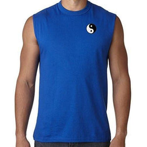 Mens Yin Yang Patch Sleeveless Tee - Pocket Print - Yoga Clothing for You - 1