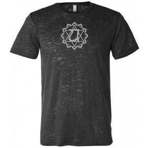 Anahata Chakra Symbol Mens Burnout Tee Shirt - Yoga Clothing for You