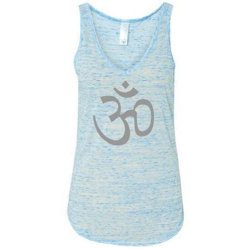 Ladies AUM Om Flowy V-Neck Tank Top - Blue Marble - Yoga Clothing for You