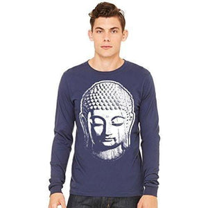 Mens Long Sleeve Yoga Tee Shirt - Big Buddha Head - Yoga Clothing for You - 4