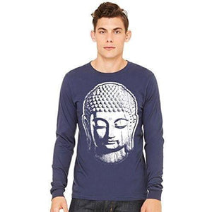 Mens Long Sleeve Yoga Tee Shirt - Big Buddha Head - Yoga Clothing for You - 1
