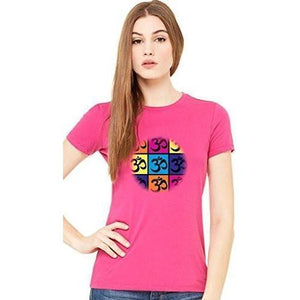 Ladies Short Sleeve Yoga Tee Shirt - Pop Art Om - Yoga Clothing for You - 1