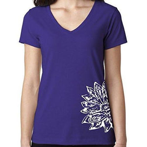Womens Sketch Lotus Lightweight V-neck Tee - Side Bottom Print - Yoga Clothing for You - 10