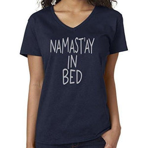 Womens Namaste in Bed Vee Neck Tee - Yoga Clothing for You - 7