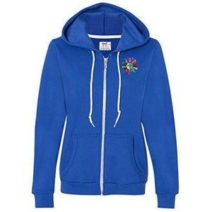 Womens Hippie Sun Full Zip Hoodie - Pocket Print - Yoga Clothing for You - 8