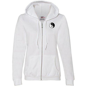 Womens Yin Yang Patch Full Zip Hoodie - Pocket Print - Yoga Clothing for You - 9