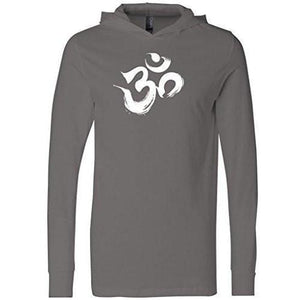 Mens Brushstroke AUM Thin Hoodie Tee Shirt - Yoga Clothing for You - 1