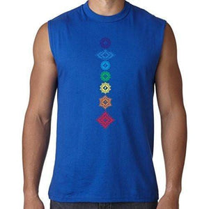 Mens Floral 7 Chakras Muscle Tee Shirt - Yoga Clothing for You - 5