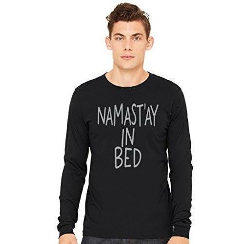 Mens Namast'ay in Bed Long Sleeve Tee - Yoga Clothing for You - 1