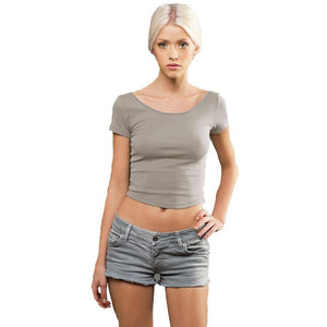Ladies Rib Yoga Crop Top - Yoga Clothing for You