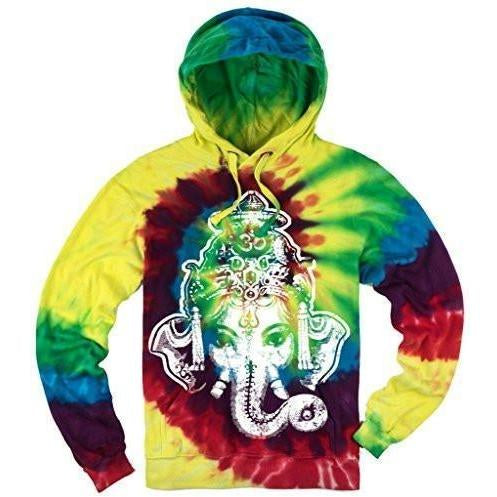 Mens Tie Dye Big Ganesha Hoodie - Yoga Clothing for You