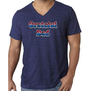 Mens American Grateful Dad V-neck Tee Shirt - Yoga Clothing for You - 9