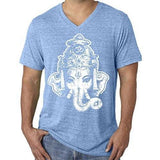 Mens Big Ganesha V-neck Tee Shirt - Yoga Clothing for You - 3