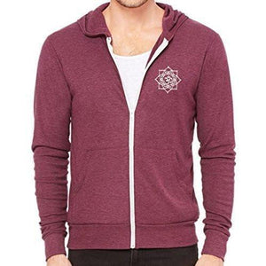 Mens White Lotus OM Patch Full-Zip Hoodie - Pocket Print - Yoga Clothing for You - 5