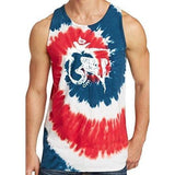 Mens White Tibet Om Tie Dye Tank Top - Yoga Clothing for You - 9