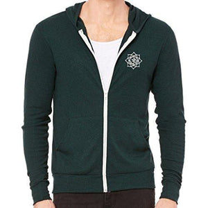 Mens White Lotus OM Patch Full-Zip Hoodie - Pocket Print - Yoga Clothing for You - 3
