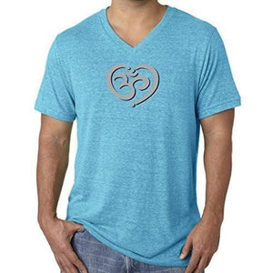 Mens Om Heart Lightweight V-neck Tee Shirt - Yoga Clothing for You - 1