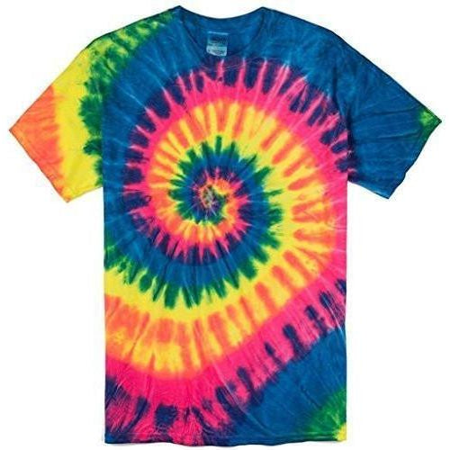 Yoga Clothing for You Mens Neon Rainbow Tie Dye Tee Shirt