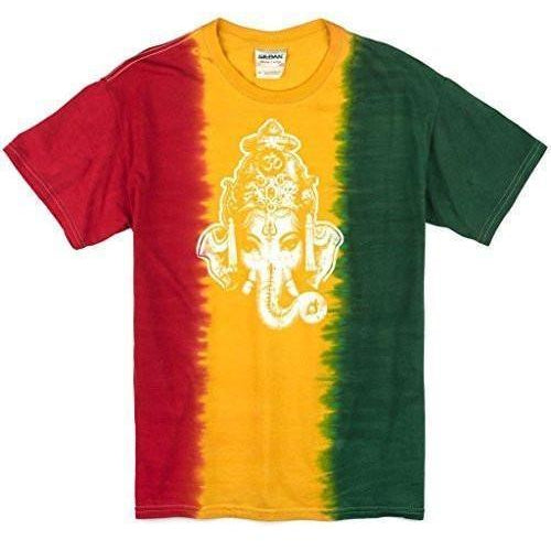 Mens Ganesha Head Rasta Tie Dye Tee Shirt - Yoga Clothing for You