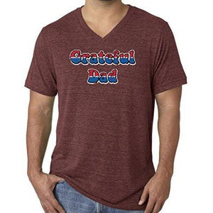 Mens American Grateful Dad V-neck Tee Shirt - Yoga Clothing for You - 8